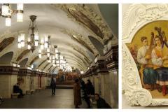 """Druga część stacji Kijewskaja na linii Arbacko-Pokrowskiej (1953) – jeszcze """"piękniejsza"""", bo freskami i ceramicznymi płytkami ukazująca szczęśliwe życie na radzieckiej Ukrainie. Fot. Iwona Januszkiewicz-Rębowska, Jacek Iwaszko"""